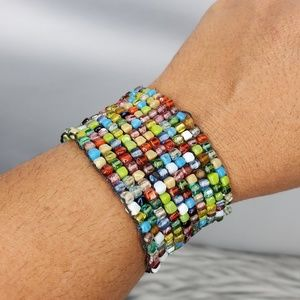 Multicolor Women's Wide Elastic Bracelet